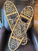 Vtg Tubbs Wooden Snowshoes From Vermont With Leather Straps 10x36 Cabin Decor