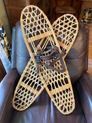 Vintage Tubbs Wooden Snowshoes With Leather Straps 10x36 - 2 Cabin Decor