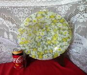 Michael And Frances Higgins Fused Art Glass Country Garden Flowers Display Bowl