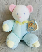 Bantam Collections Bear Pastel Pajamas Terry Cloth Rattle Baby Plush Toy W/ Tags