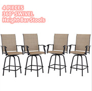 Outdoor Swivel Patio Chairs Set Of 4 Height Bar Stools High Back Armrest Chair