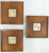 3 Antique Victorian Kate Greenaway Lithograph Prints In Oak Frames Wall Decor