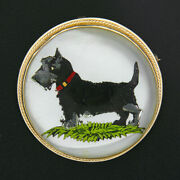 Vintage 14k Gold Scottish Terrier Reverse Intaglio On Mother Of Pearl Pin Brooch