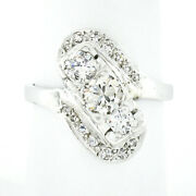 Vintage 14k White Gold 1.18ctw Old Transitional Cut Diamond Diagonal Bypass Ring