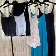 Lot 6 Vintage Now Size 40 Nylon Lace Variety Of Lingerie Cami Slips Nighties