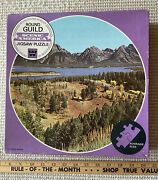 """Vtg Tetons Wy Mountains Huge 23"""" 650 Pc Round Guild Scenic America Jigsaw Puzzle"""