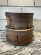 """Antique Primitive Stack Of 2 Small Round Wooden Pantry Boxes 6"""" And 6.75"""""""