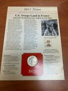 1917 S Walking Liberty Half Dollar And Stamp News Card Us Troops Land In France