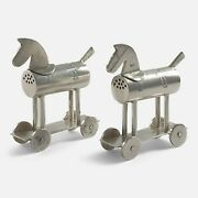 Pair Of Sterling Silver And039hobby Horseand039 Pepper Pots 1910