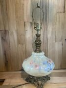"""Large 1972 Gim 3 Way Lamp Brass And Glass 28"""" Pink Blue Yellow Floral 3228"""