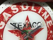 Texaco 13.75 Wall Hanging Glass Clock New Vintage Distressed Metal Sign Look