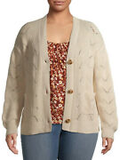 New Terra And Sky Womenand039s Plus Size Stitched Button Front Cotton Beige Cardigan