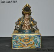 Old Chinese Dynasty Purple Copper Cloisonne Gilt Dragon Turtle Seal Stamp Signet