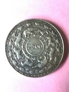 Ceylon 5 Rupees Fine Large .925 High Grade Pure Silver Coin -unpolished- 1957-