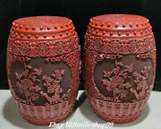 20 Qianlong Marked Old China Red Lacquerware Dynasty Flower Bird Stool Pair