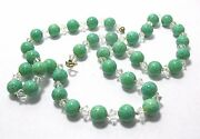 Green Porcelain Bead Clear Glass Bead Necklace 22 Long Vintage