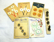 Vintage Carded Button Lot Of 6 Cards 25 Buttons Pearl Moonstone Syboll