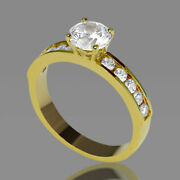 2 Ct Natural Diamond Engagement Ring Round Cut D/vs2 18k Yellow Gold