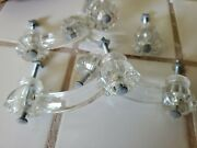 Set Of 4 Antique Glass Drawer Pull Cabinet Door Handle Hardware Salvaged