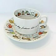 Vintage Fortune Telling Tea Cup And Saucer Zodiac Astrology Jon Anton Ironstone
