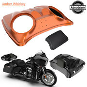 Amber Whiskey Dual 8and039and039 Speaker Lids Fits Advanblack/harley Razor Tour Pak Pack