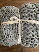 Brand New Pottery Barn Colossal Handknit 44x56andrdquo Throw 💗chambray Blue-sold Out