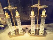 Matching Pair Of Double Column Waterford Crystal Lamps Original Crystal Finials