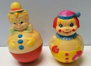 Vintage 1977 Sanitoy And 1972 First Years Roly Poly Wobble Clown Toy + Bell