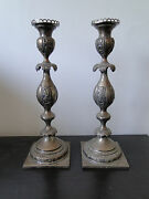Candle Sticks Antique German Sterling Silver Marked 12 Ma Circa 1820 Chased