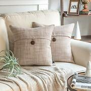 Pack Of 2 Farmhouse Throw Pillow Covers Button Vintage Linen 18 X 18 Beige