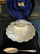 Shell Butter Dish And Knife In Box Sterling Sheffield 1906-h.atkins Antique Marked