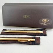 Vintage Cross 14k Solid Gold Ballpoint Pen And Pencil Set