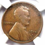 1914-d Lincoln Wheat Cent 1c - Certified Ngc F15 - Rare Key Date Penny