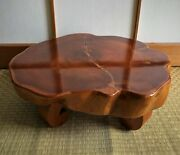 Japanese Large Wooden Table Flower Slab Bonsai Stand Display Craft L.15in /11lbs