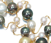 Auth Tasaki Necklace White And Black Pearls Akoya Pearls Station 18k Yellow Gold