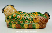 12.5 Old China Tang Sancai Pottery Dynasty Girl Weeping Willow Pillow Statue
