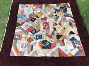 Antique Victorian Crazy Quilt Top 1800s Velvet Embroidered Hand Stitched Painted