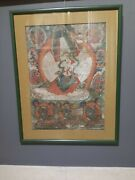 Antique Thangka From Tibet - Oriental 19th Religious Painting From Tibet