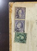 Washington 3 Cent 2 And 1 Cent 1 Stamps On Antique Cribbage Board