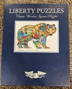 Liberty Puzzles Classic Wooden 471 Piece Jigsaw Puzzle Grizzly Bear Complete