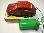 Vtg Modern Toys Volkswagen Beetle Battery Operated Vw Tin Toy Car Japan Remote💥