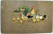Tsarist Antique Russia Hen Rooster Chicken Postcard Greeting Easter