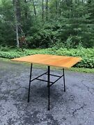 Mid Century Modern Wrought Iron Drop Leaf Dining Table