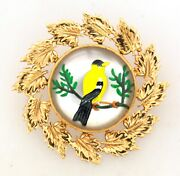 Victorian 14k Yellow Gold Reverse Painting Pin Brooch Enamel Mother-of-pearl