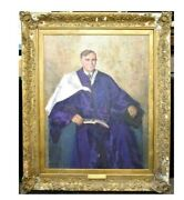 Gertrude Mary Coventry Gifted Portrait Oil Painting Of Husband Edward Robertson