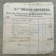Antique Letterhead Receipt 1887 Shafer Brothers Boonville In Stoves Undertaking