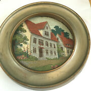 Antique Pettipoint Cottages Houses Small Framed Picture 6