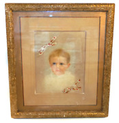 Antique 1887 Victorian Framed Baby Portrait With Hair Bows In Period Picture Fra