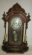 Antique Gilbert Occidental Mirrored Parlor Clock 8-day, Time/bell Strike