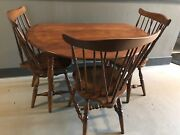 Antique Ethan Allen Maple Drop Leaf Dining Table With 2 Leafs And 3 Chairs